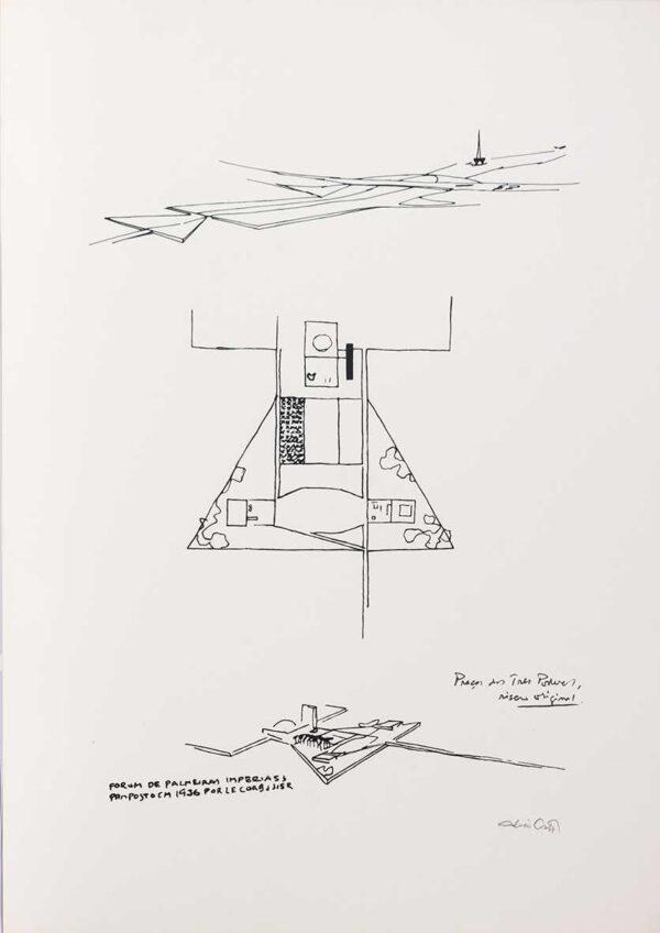 243 - Lúcio Costa serifrafia - praça dos 3 poedres - 50x70cm - ano 1997 - tiragem de 100 exemplares.jpg
