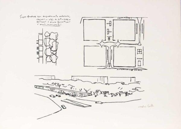 244 - Lúcio Costa serifrafia - super quadras - ano 1997- 50x70cm - tiragem de 100 exemplares