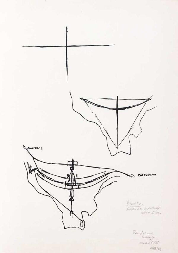 245 - Lúcio Costa serifrafia - inicio da implantação - 50x70cm - ano 1997 - tiragem de 100 exemplares.jpg
