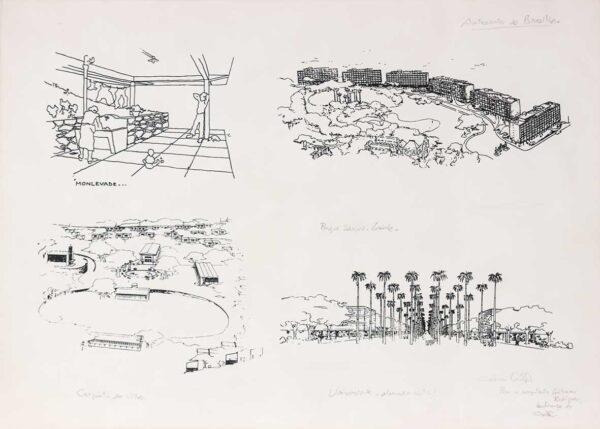 246 - Lúcio Costa serifrafia - antecedentes de Brasilia - ano 1997- 50x70cm - tiragem de 100 exemplares