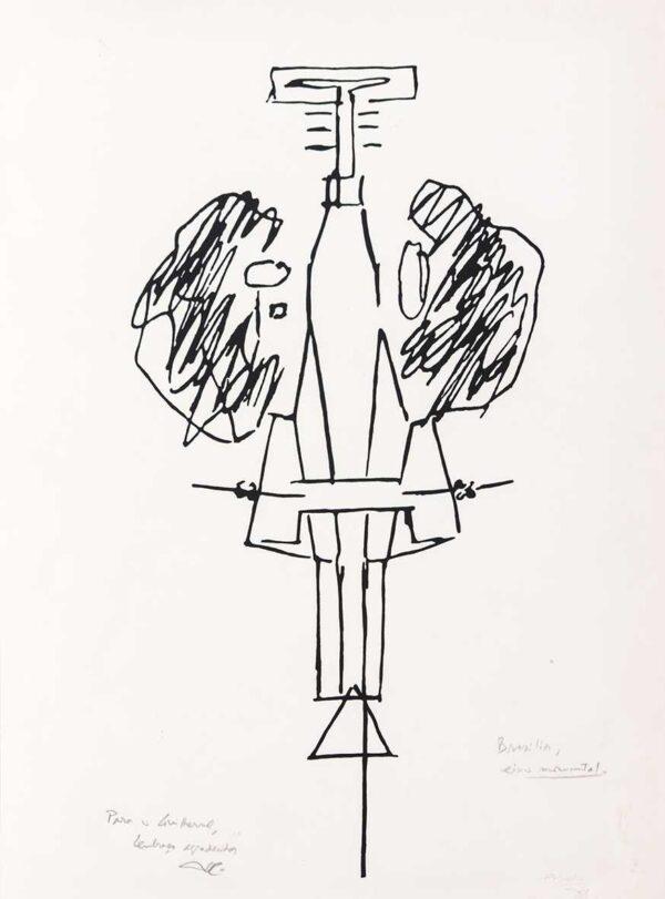 247 - Lúcio Costa serifrafia - eixo monumental - ano 1997- 50x70cm - tiragem de 100 exemplares
