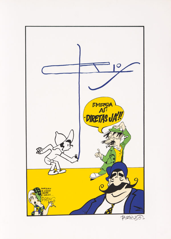 296 - Paulo Caruso - Homenagem a J Carlos - 48x66cm - Serigrafia - Ano 1988 - Tiragem 100